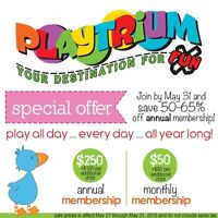 Playtrium Yearly Membership. Upto 65% off Limited Time !