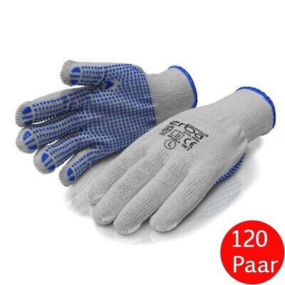 120 x ERBA Polyester Feinstrick Handschuhe PVC-Noppen Arbeitshandschuhe