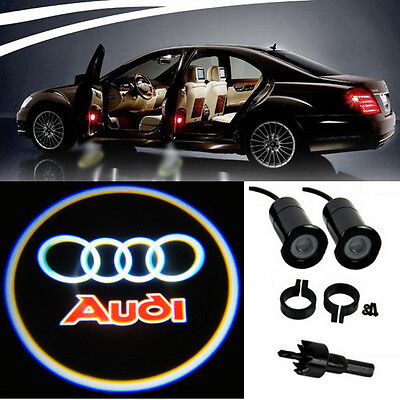 2 Audi Logo LED Light Bulbs Projection Courtesy Lights Decorative Tuning Fashion