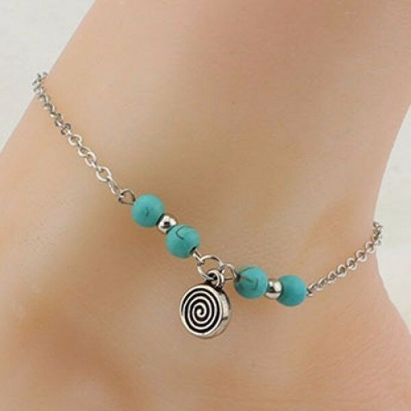 Retro Style Turquoise Beads Spiral Charm Anklet For Women
