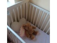 Lovely white cot and mattress