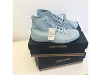 Baby Blue Leather High Converse All Stars