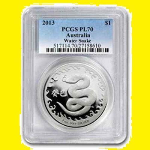 2013 Chinese Lunar Year of the SNAKE PCGS PR 70 AUSTRALIA 1 OZ SILVER POP 28