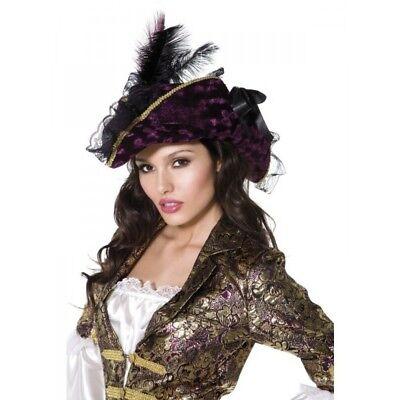 Smi - Karneval Kostüm Zubehör Piraten Hut Plünderer lila schwarz Damen - Damen Piraten Kostüm Zubehör