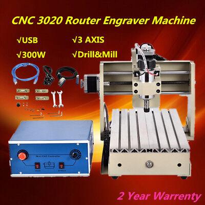 Usb 300w 3 Axis Cnc 3020 Router Engraver 3d Engraving Drill Mill Machine Pvc Pcb
