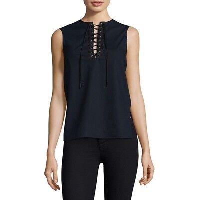 NWT $595 Jason Wu Lace Up Sleeveless Dress Shirt 2 navy black cotton tank USA