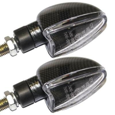 RYDE SHORT STEM MOTORCYCLE BULB INDICATORS CARBON EFFECT CLEAR LENS MOTORBIKE