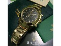 Full gold daytona mens automatic watch functional ETA chrono rolex boxed