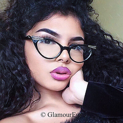 Slim Cat EYE Crystals Demi PinUp Rockabilly Eye Glasses Secretary Frames 1317 - Cat Eye Glasses Frames