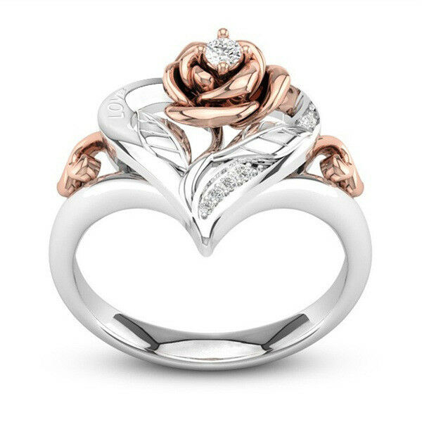 Rose Rings for Women Two Tone 925 Silver Jewelry White Sapph