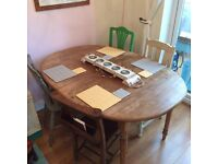 Oval pine dining table
