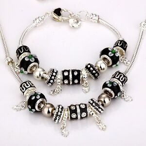 CHARM JEWELLERY 925SILVER MULTICOLOUR MURANO BEAD BRACELET + NECKLACE SET + BOX