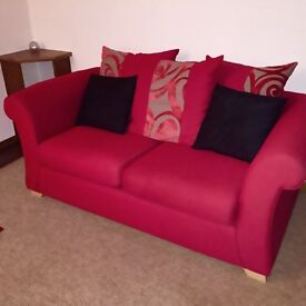 Sofa & 2 Armchairs Red Fabric