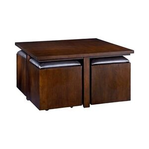HammaryCubics Square Cocktail Table in Rich Brown Java