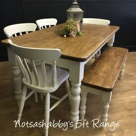 NEW HANDMADE 5FT PINE FARMHOUSE TABLE BENCH AND CHAIRS
