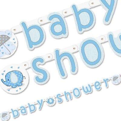 Baby Shower Elefant Buchstabenkette, blau, 1,6m