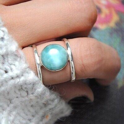 Sterling Silver Larimar Ring for Women Blue Stone Boho Bohemian Jewelry Size 7 8