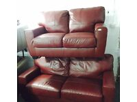 As new red leather 3 and 2 sofas