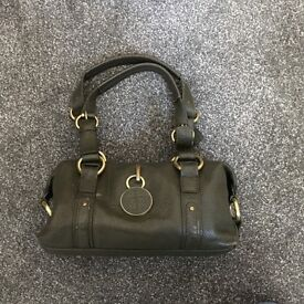 Jasper Conran J Jeans Green Leather Barrel Handbag