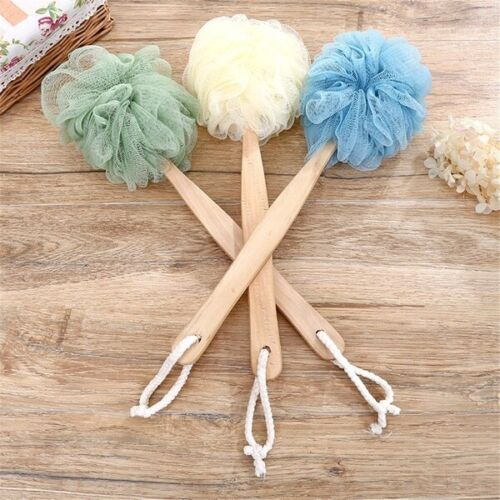 New Wooden Long Handle Back Sponge Scrubber Shower Body Brush with Loofah Mesh