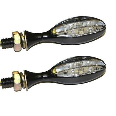 RYDE MICRO OVAL MOTORCYCLE LED INDICATORS BLACK WITH CLEAR LENS BIKE/MOTORBIKE