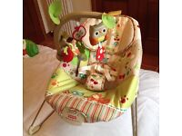 AS NEW Fisher Price Woodsy Bouncer vibrating musical rocker