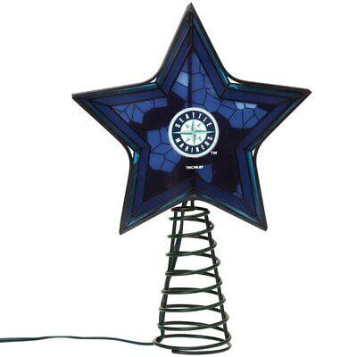 SEATTLE MARINERS Mosaic Christmas Tree Topper Baseball Ornament Light Up Star