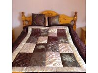 Reversible satin style bed throw and matching cushions Burgundy