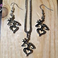 BROWNING EARRING AND NECKLACE SETS. HUNTING DEER VALENTINES