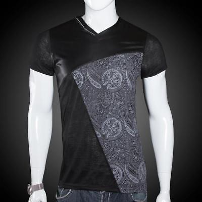 Mens Trendy Paisley Print Slim Fit T-Shirt With Faux Leather Accents