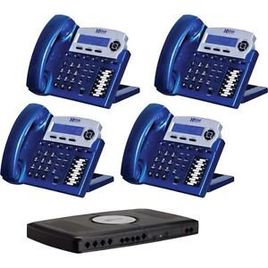 XBLUE X16 4-Line Small Office Telephone System,4/Pack,Vivid Blue