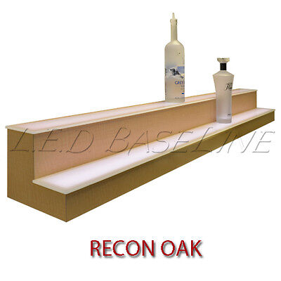 16 2 Tier Led Lighted Liquor Display Shelf - Oak Finish