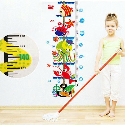 Sea World Fish Whale Kids Height Measure Wall Stickers Boy Girl Growth (World Growth Chart)
