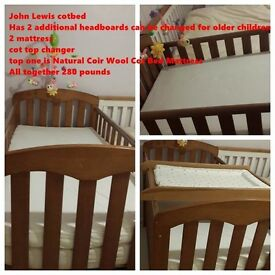 Now reduced to 180 (last week). Baby cot bed, includes 4 bedheads, cot top changer, 2 mattress.