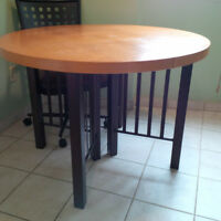"Amisco 42"" Wooden Kitchen Table with 4 Steel/Cloth Swivel Chairs"