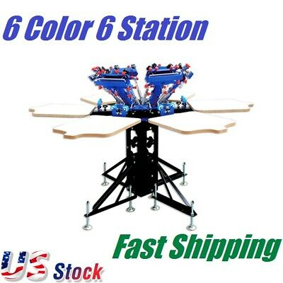 6 Color 6 Station Screen Printing Machine Micro-adjust Rotatable T-shirt Press