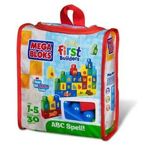 30PC Mega Bloks ABC First Builders Set Tote Bag Case Brand New