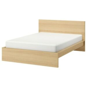 IKEA MALM Queen Bed frame, white stained oak veneer & Mattress