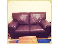 Sofa x2 for sale chocolate brown leather