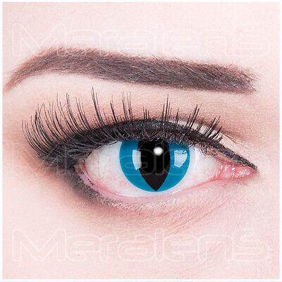 Farbige Kontaktlinsen  Blau schwarz Mystic Cat Halloween Fasching
