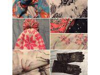 Winter bundle scarves, hat, gloves