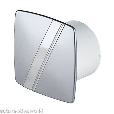 "Bathroom Extractor Fan 100mm / 4"" Timer & Humidity Sensor Silver Chrome WLS100H"