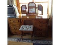 Double ended pine dressing table with stool and triple mirror