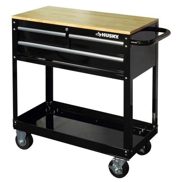 36in Rolling Tool Cart Black Wood Top 3 Drawer Shelf Workben