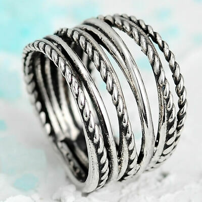 Wire Wrap Ring Sterling Silver Chunky Boho Statement Wide Band Women Size 7 8 9
