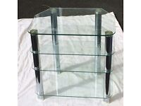 Glass and chrome shelving unit