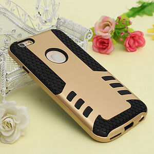 GOLD BLACK HEAVY DUTY SHOCKPROOF CASE COVER FOR IPHONE 6,6S.6S+