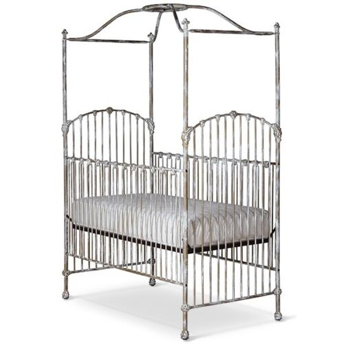 CORSICAN Wrought Iron 4 Post Crib Cloudy Gold French Fleur de Lis Pickup Only CT