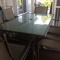 7 Piece Steel and Glass Patio Dining Set