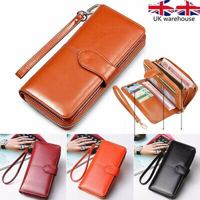 Women Lady PU Leather zip Wallet Long Card Phone Holder Clutch Purse Handbag